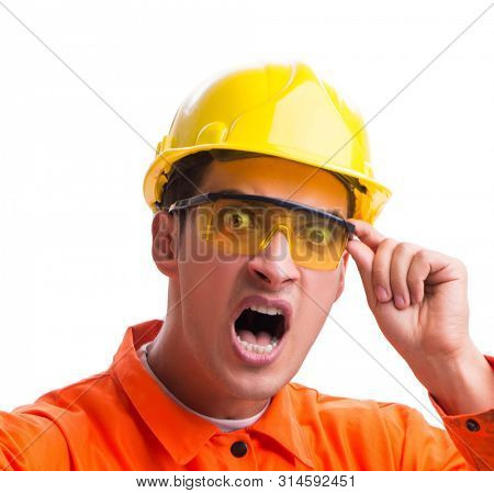 Construction worker wearing hard hat isolated on white