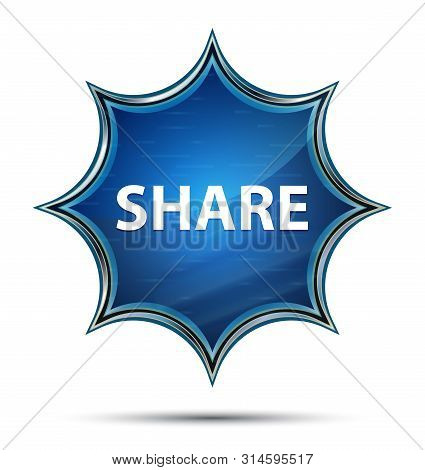 Share Isolated On Magical Glassy Sunburst Blue Button