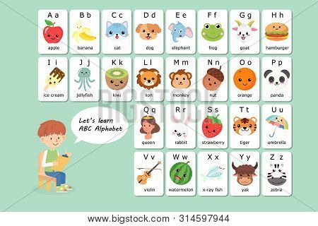 Kawaii English Vocabulary And Alphabet Flash Card Vector For Kids To Help Learning And Education In