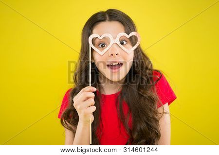 Cute Kid With Fancy Party Props. Party Decorations Supplier. Party Shop. Valentines Day Concept. Hap