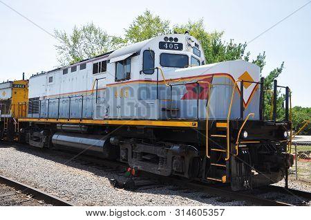 Delaware, Lackawanna Railroad DL 405 is a Alco C420 diesel locomotive in Steamtown National Historic Site in Scranton, Pennsylvania, USA.