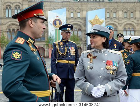 Moscow, Russia - May 9, 2019: Deputy Minister Of Defense Of The Russian Federation Tatiana Shevtsova