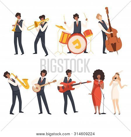 Jazz Band Group, Musicians Singing And Playing Trumpet, Banjo, Saxophone, Trombone, Drums, Guitar, D