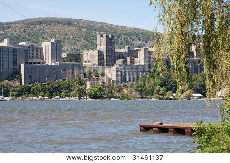 West Point Military Academy from across the Hudson River. poster