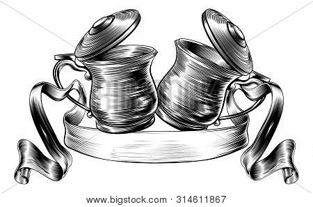 An Illustration Of A Traditional Beer Stein Or Tankards Chinking Together In A Prost Toast With Bann