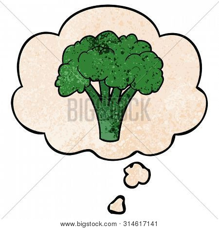 cartoon brocoli with thought bubble in grunge texture style