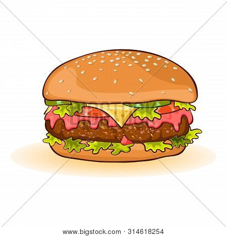 Calorific Fattening Fast Food. Cheeseburger With Slices Of Beef Patty, Cheese, Ketchup, Tomato, Cucu