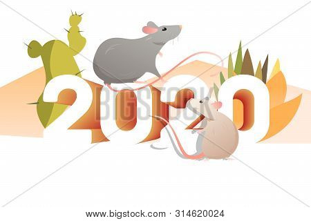 Couple Of Rats And Cactuses. 2020, Outdoors, Mexica. New Year Vacation Concept. Vector Illustration