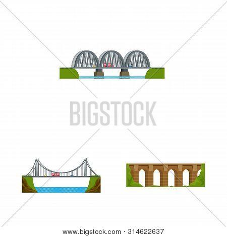 Vector Illustration Of Bridgework And Bridge Icon. Collection Of Bridgework And Landmark Vector Icon