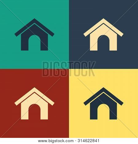 Color Dog house icon isolated on color background. Dog kennel. Vintage style drawing. Vector Illustration poster