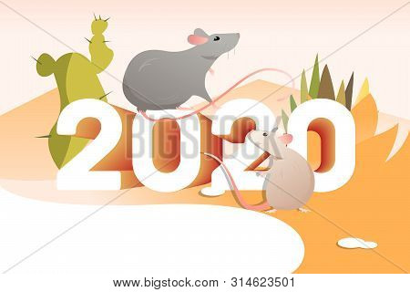 Two Rats And Cactuses. 2020, Tourism, Mexica. New Year Vacation Concept. Vector Illustration Can Be