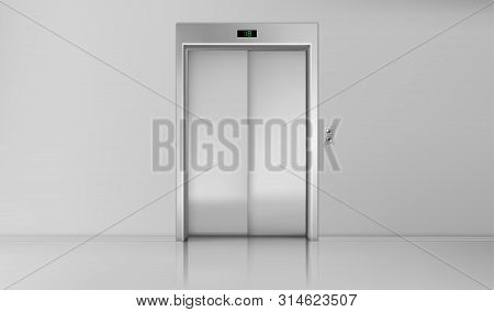 Elevator Doors, Close Lift Cabin Entrance With Chrome Metal Buttons Panel, Empty Building White Hall