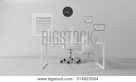 Oculist Office, Empty Optometrist Cabinet Interior, Ophthalmologist Doctor Workplace With Turning Se