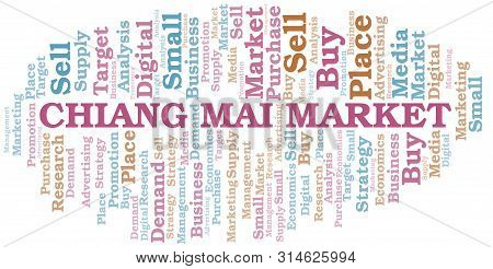 Chiang Mai Market Word Cloud. Vector Made With Text Only