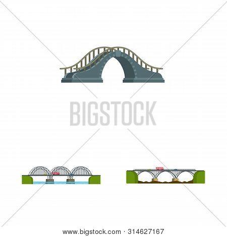 Vector Illustration Of Bridgework And Bridge Symbol. Collection Of Bridgework And Landmark Stock Sym