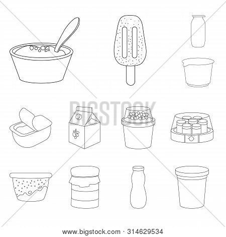 Isolated Object Of Calcium And Food Logo. Set Of Calcium And Product Stock Symbol For Web.