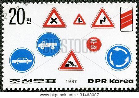 Dpr Korea - 1987: Shows Road Safety