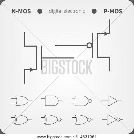 Symbols For Building Blocks Of Logic Gates. N-mos And P-mos Transistor Schematic Symbols.