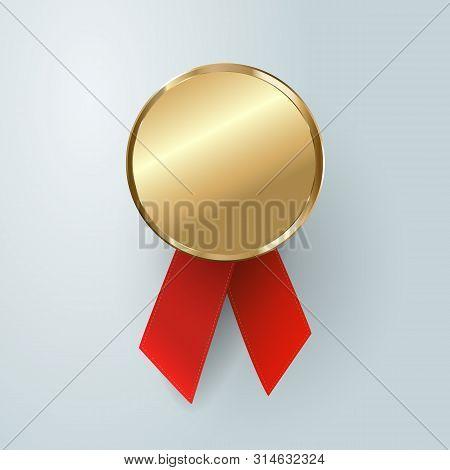 Champion Gold Medal. Winner Trophy, Golden Medal , Sport , First, Best , Red Ribbon , Coin , Prize .