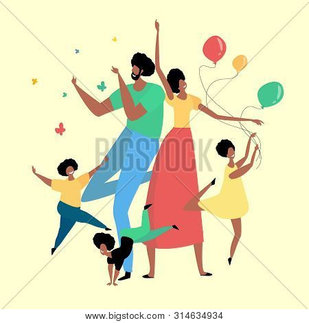 Happy African Family Having Fun And Celebrating A Holiday. Bright Flat Style Picture For Blogs, And