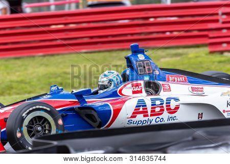 July 26, 2019 - Lexington, Ohio, USA: TONY KANAAN (14) of Brazil  practices for the Honda Indy 200 at Mid Ohio at Mid-Ohio Sports Car Course in Lexington, Ohio.