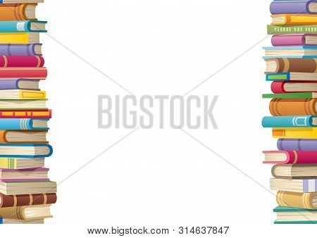 Book Stacks Making 2 Side Borders To Frame An Empty Copy Space For Your Text. The Stacks Are Seamles