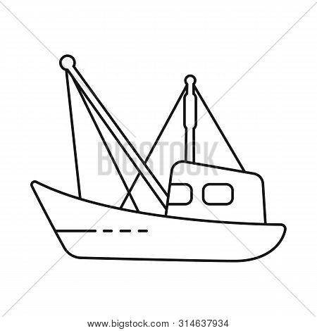 Isolated Object Of Fishery And Trawler Icon. Collection Of Fishery And Naval Stock Vector Illustrati
