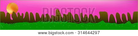 Pink Sky, And Mountains Landscape. Panoramic Horizontal Design. Trendy Panoramic Design. Cool Glass