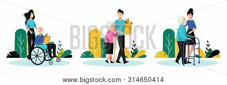 Social Workers Taking Care About Seniors People. Vector Flat Cartoon Illustration. Volunteer Young P