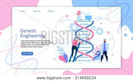 Binformative Banner Engineering Genetic Cartoon.  Men Experiment With Genetic Chain. Woman Systemati