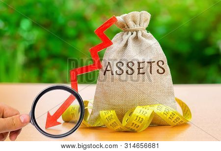 Money Bag With Tape Measure And The Word Assets With Down Arrow. Falling Asset, Liquidity And Value.