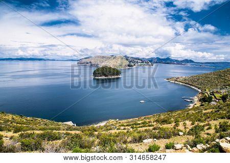 Panoramioc view from village on Isla del Sol Island  in Titicaca lake, Bolivia. South America.