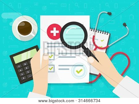 Doctor Analysing Medical, Health Insurance Document Vector, Flat Lay Cartoon Of Medicine Or Hospital