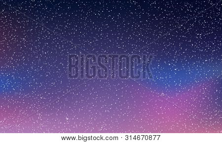 Star Sky Light, Starry Night Space Vector Background. Northern Lights Glow, Blue Neon Aurora Abstrac