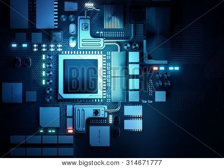 Top Down View Of A Artificial Intelligence Cpu And Microprocessors Board. 3d Render Illustration Bac