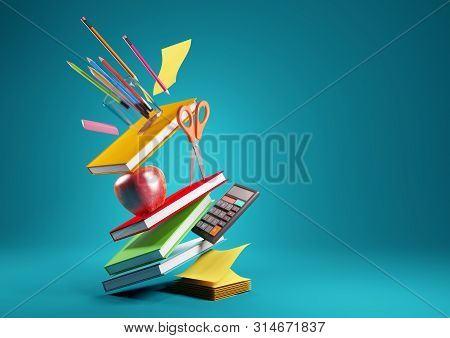 Back To School Education Background Concept With Falling And Balancing School Accessories And Items.
