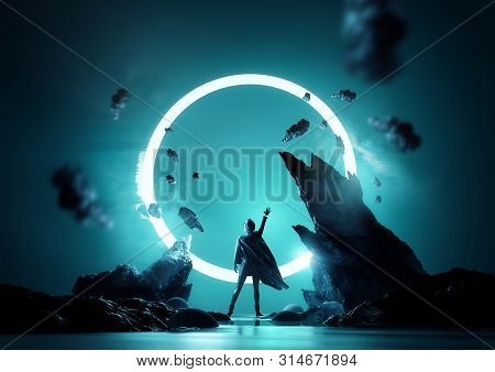 Between Worlds Fantasy Concept. A Women Reaching Up Into A Glowing Loop Of Light. Futuristic Women P