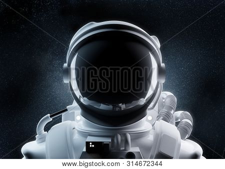 A Close Up Image Of An Astronaut And Helmet In Outer Space. 3d Illustration.