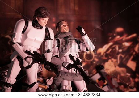 JULY 30 2019: Recreation of a scene from Star Wars A New Hope aboard the Death Star trash compactor and Dianoga monster attacking Luke Skywalker - Hasbro action figure