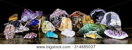 Panorama, Colorful Various Uncut And Raw Mineral Stones, Gemstone And Healing Stone Collection