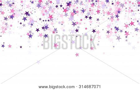 Flying Stars Confetti Holiday Vector In Pink Violet Purple On White. Christmas Banner Decoration. Co