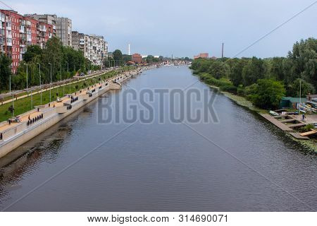 Cityview Of The Pregolya River And The Embankment Of Admiral Tributs In Center Of Kaliningrad (forme
