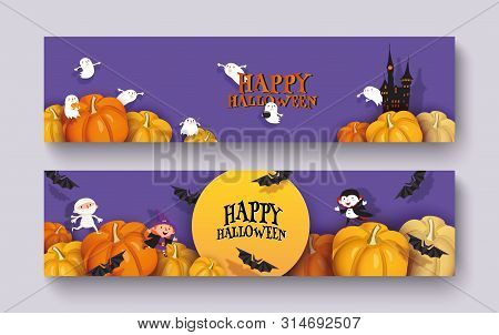 Happy Halloween 3d Papercut Design. Pumpkin, Witch, Castle, Vampire, Bat, Mummy, Ghoul, Moon. Purple
