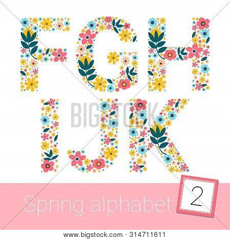 Retro Spring Flower Alphabet Uppercase. Vector Illestration. F G H I J K