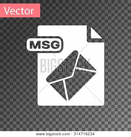 White Msg File Document. Download Msg Button Icon Isolated On Transparent Background. Msg File Symbo