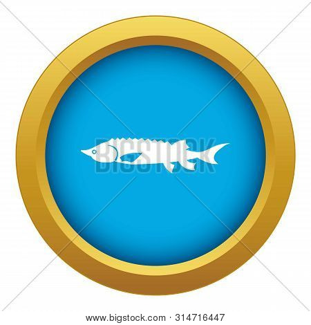 Fresh Sturgeon Fish Icon Blue Vector Isolated On White Background For Any Design