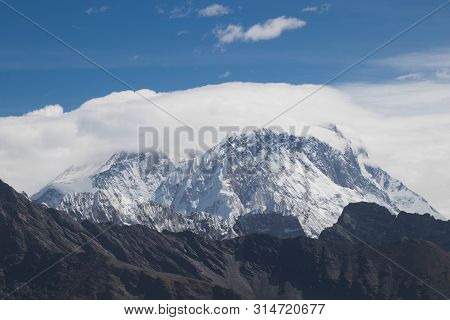 Scenic View Of Mount Everest 8,848 M And Lhotse 8,516 M At Renjo La Pass During Everest Base Camp Tr