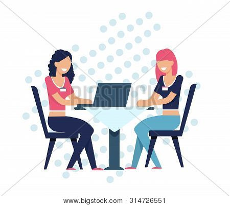 Women Search Soul Mate. Girls Online Sit At Table Using Laptop. Internet Service Dating Agency. Staf