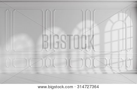 White colorless room with sunlight from rounded windows, with white decorative classic style molding frames on walls, with flat ceiling, floor and baseboard, 3d illustration mock-up poster