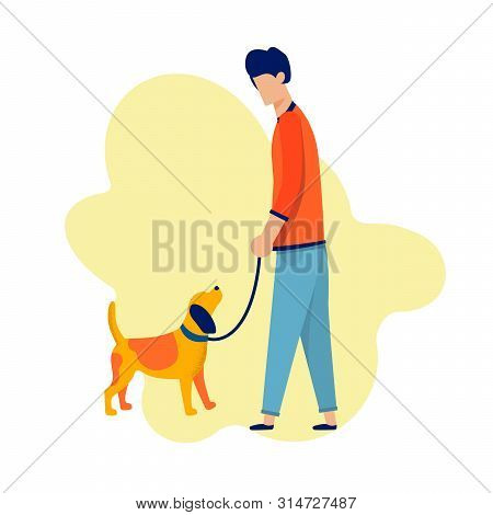 Cartoon Man Character Walking With Dog Along. Dreaming For Love And Relationship. Help And Support I